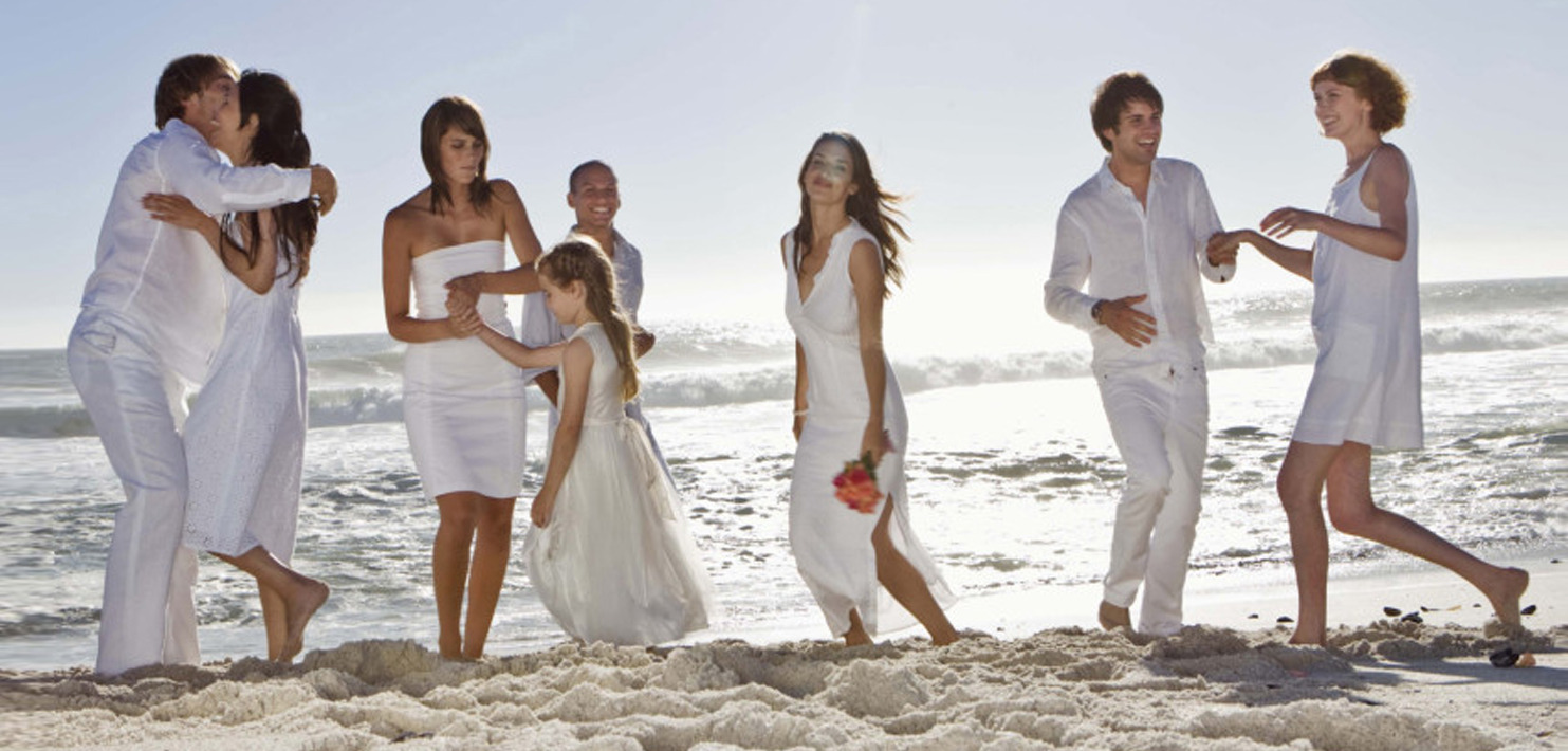new york beach wedding party